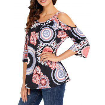 Floral and Circle Print Cold Shoulder Top - BLACK XL