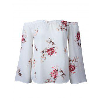 Floral Print Off Shoulder Blouse - WHITE WHITE