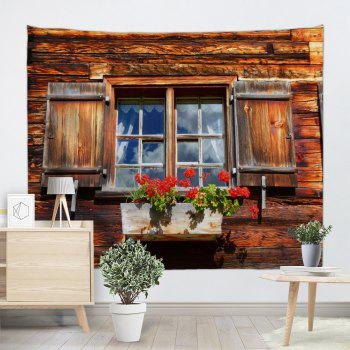 Wooden House Window Print Tapestry Wall Hanging - COLORMIX W79 INCH * L71 INCH