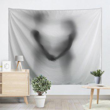 Valentine's Day Couple Shadow Print Tapestry Wall Hanging - BLACK WHITE W91 INCH * L71 INCH