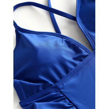 One Piece Ruched Backless Swimsuit - BLUE L