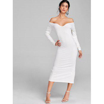 Open Shoulder Long Sleeve Ribbed Dress - WHITE XL