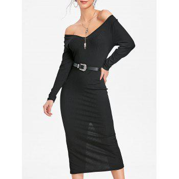 Open Shoulder Long Sleeve Ribbed Dress - BLACK BLACK