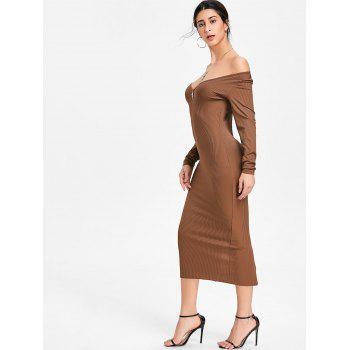 Open Shoulder Long Sleeve Ribbed Dress - KHAKI XL