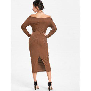Open Shoulder Long Sleeve Ribbed Dress - KHAKI S