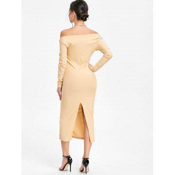 Open Shoulder Long Sleeve Ribbed Dress - BEIGE BEIGE