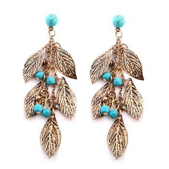 Layered Leaves and Beaded Drop Earrings - GOLDEN GOLDEN