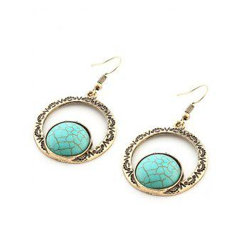 Hollow Out Roman Pattern Nature Stone Inlay Drop Earrings - GOLDEN