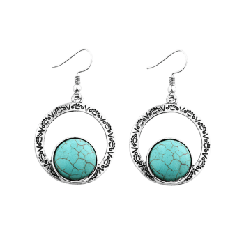 Hollow Out Roman Pattern Nature Stone Inlay Drop Earrings -  SILVER