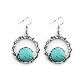 Hollow Out Roman Pattern Nature Stone Inlay Drop Earrings - SILVER SILVER