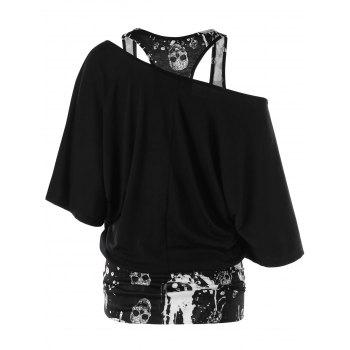 Skew Collar Skulls Tunic T-shirt - BLACK L