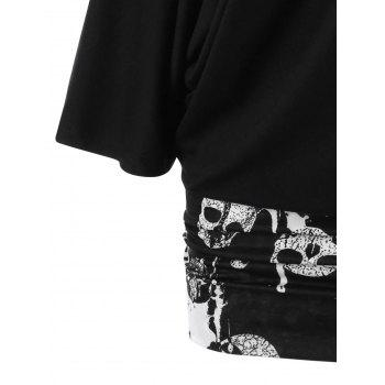 Skew Collar Skulls Tunic T-shirt - BLACK 2XL