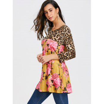Floral and Leopard Printed Tunic T-shirt - YELLOW L