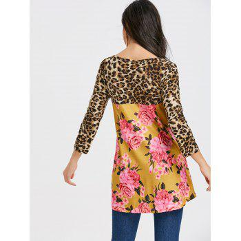 Floral and Leopard Printed Tunic T-shirt - YELLOW YELLOW