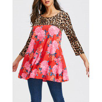 Floral and Leopard Printed Tunic T-shirt - RED RED