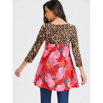 Floral and Leopard Printed Tunic T-shirt - RED L