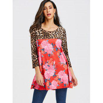 Floral and Leopard Printed Tunic T-shirt - RED M