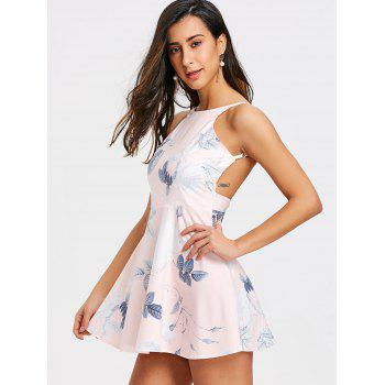 Floral Leaf Printed Backless Flare Dress - COLORMIX L