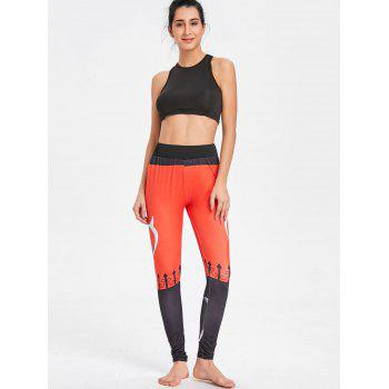 Pattern High Rise  Workout Leggings - BLACK/ORANGE XL