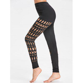 Sports Cutout See Through Leggings - BLACK BLACK