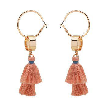 Bohemian Alloy Tassel Hoop Drop Earrings - GOLDEN GOLDEN
