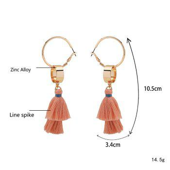 Bohemian Alloy Tassel Hoop Drop Earrings - GOLDEN