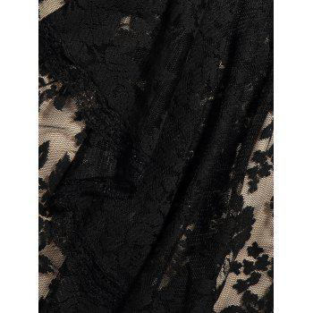 Lace Insert Jacquard Fit and Flare Dress - BLACK BLACK
