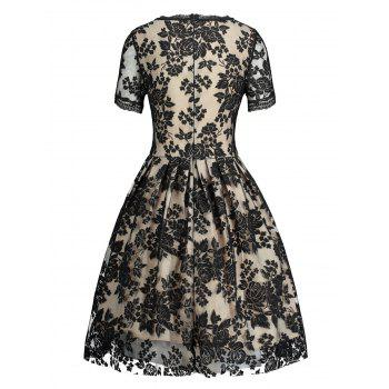 Lace Insert Jacquard Fit and Flare Dress - BLACK XL