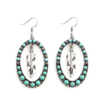 Bohemia Faux Turquoise Inlay Floral and Leaf Drop Earrings - SILVER SILVER