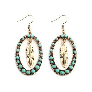 Bohemia Faux Turquoise Inlay Floral and Leaf Drop Earrings - GOLDEN GOLDEN