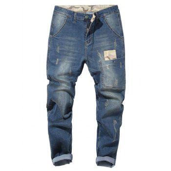 Camo Patch Tapered Drop Crotch Jeans - LIGHT BLUE LIGHT BLUE