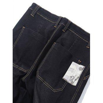 Camo Patch Tapered Drop Crotch Jeans - BLACK BLACK
