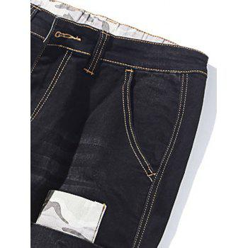 Camo Patch Tapered Drop Crotch Jeans - BLACK 30