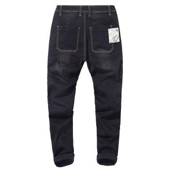 Camo Patch Tapered Drop Crotch Jeans - BLACK 32