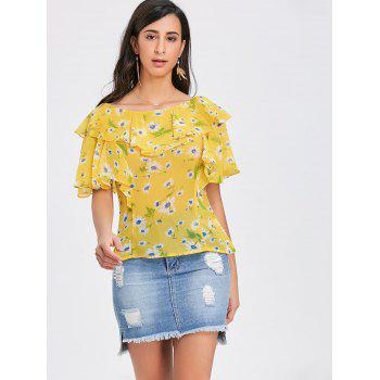 Ruffled Floral Print Chiffon Blouse - YELLOW XL