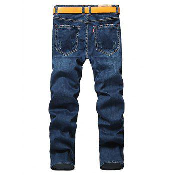 Zipper Fly Straight Classic Jeans - DEEP BLUE 42