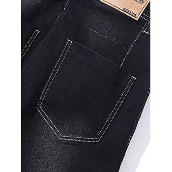 Taper Fit Zip Fly Jeans - BLACK 32