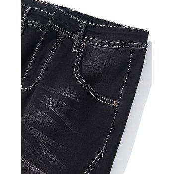 Taper Fit Zip Fly Jeans - BLACK BLACK