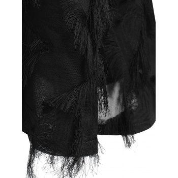 Lace Panel Fringed Plus Size Blouse - BLACK BLACK