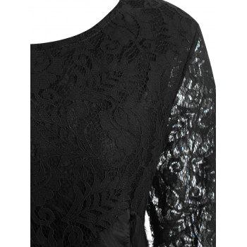 Lace Panel Fringed Plus Size Blouse - BLACK 5XL