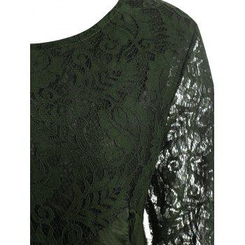 Floral Lace Overlay Plus Size Blouse - ARMY GREEN 5XL