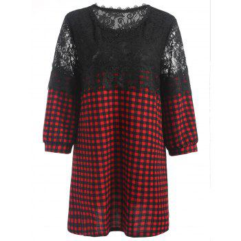 Lace Panel Plaid Plus Size Blouse - RED RED
