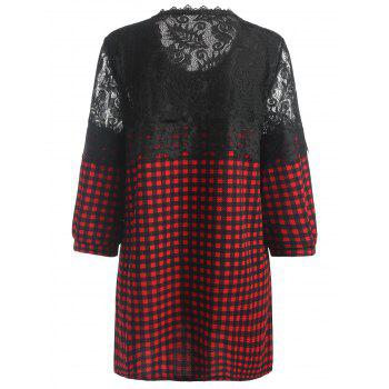 Floral Applique Plaid Plus Size Blouse - RED 4XL