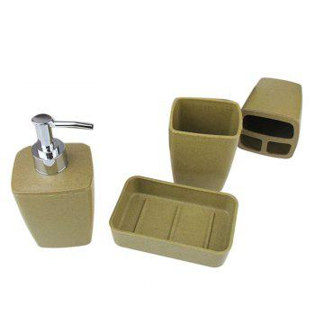 Environmentally Friendly Fiber 4Pcs Bathroom Accessory Set - ARMYGREEN