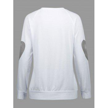 Eyelash Lip Print Raglan Sleeve Top - WHITE M