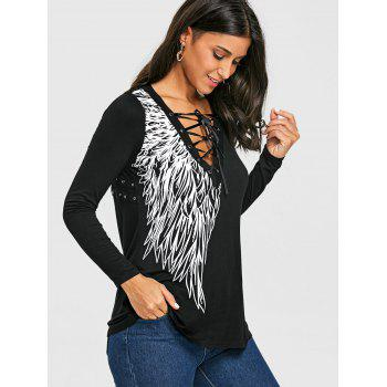 Lace Up Wing Print Long Sleeve Top - BLACK M