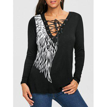 Lace Up Wing Print Long Sleeve Top - BLACK BLACK