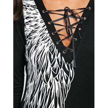 Lace Up Wing Print Long Sleeve Top - BLACK XL