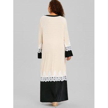 Plus Size Lace Insert Arabic Maxi Dress - APRICOT 3XL
