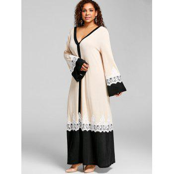Plus Size Lace Insert Arabic Maxi Dress - APRICOT 4XL